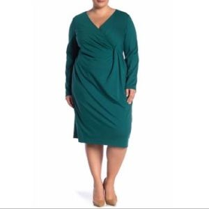 LAFAYETTE 148 NWT Pleated Long Sleeve Dress 1X
